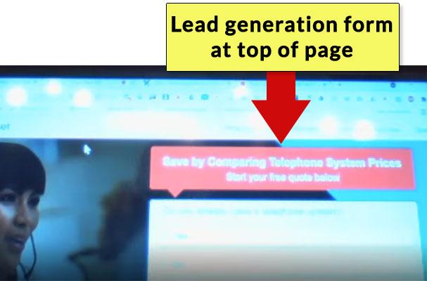 تصویر صفحه وب با فرم Gen Lead در بالای صفحه