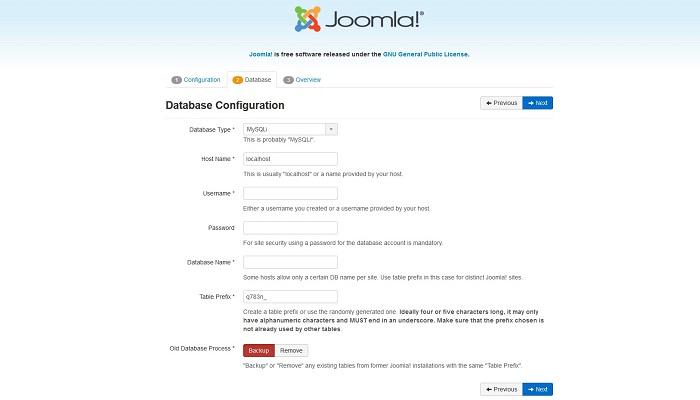 پیکربندی پایگاه داده ها
