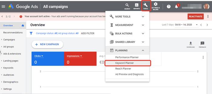 ابزار کلمه کلیدی رایگان  Google Keyword Planner