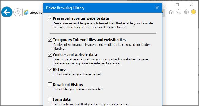 پاک کردن history در مرورگر Internet explorer