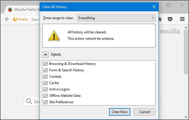 پاک کردن history در مرورگر فایرفاکس