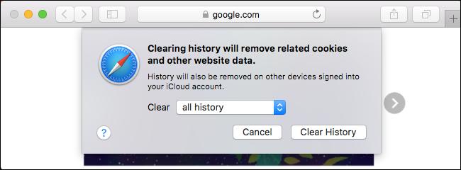 پاک کردن history در مرورگر سافاری در Mac