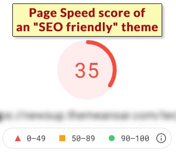 """امتیاز سرعت صفحه از قالب """"SEO Friendly"""""""