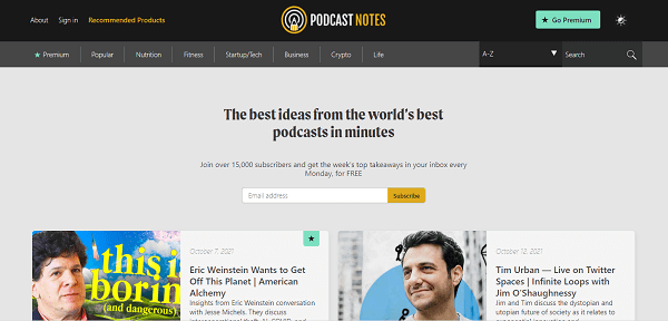 Podcast Notes ابزار پیدا کردن ترند